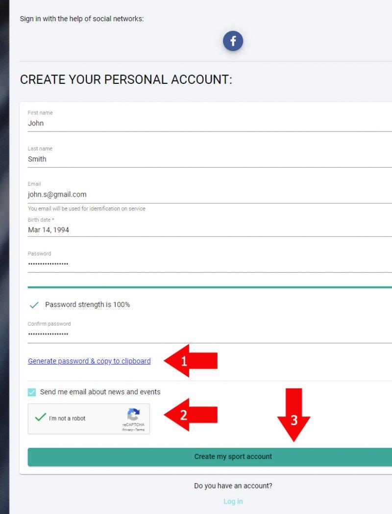 User credentials for registration